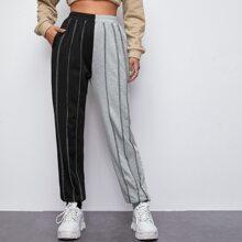 Pocket Side Contrast Stitch Two Tone Pants