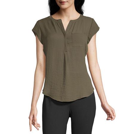 Liz Claiborne Womens Split Crew Neck Short Sleeve Blouse, Xx-large , Green