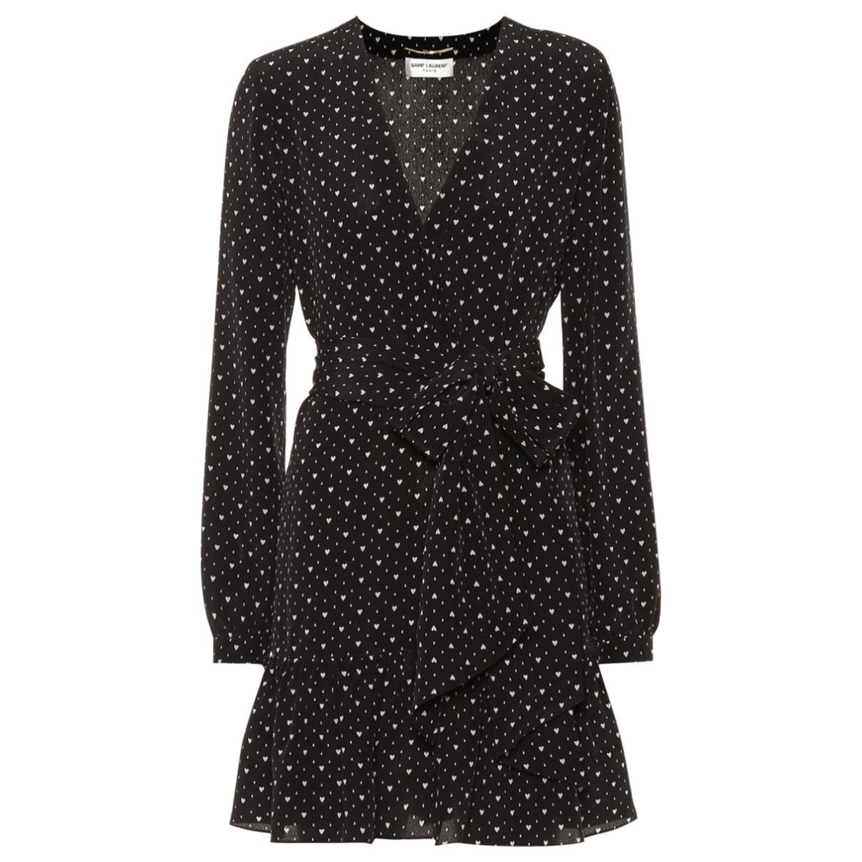Saint Laurent N Black Silk dress for Women 46 FR