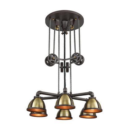 65154/6 Torque 6-Light Chandelier in Vintage Rust and Vintage