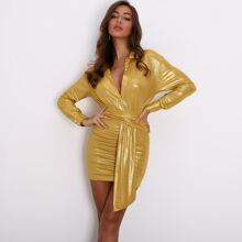 Button Front Ruched Draped Metallic Dress
