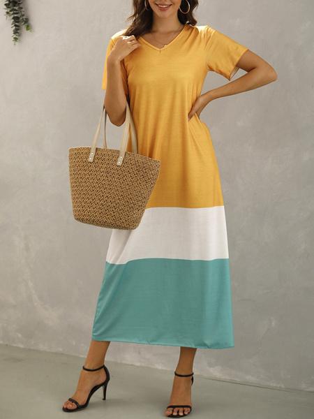 Milanoo Vestidos largos de gran tamaño Vestido de verano de mezcla de algodon de bloque de color de manga corta