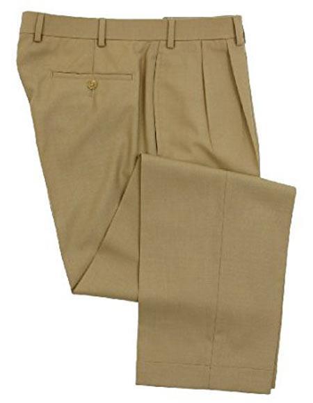 Ralph Lauren 1 Wool Double-Reverse Pleated Lined Dress Pants Tan