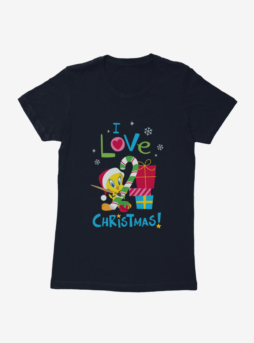 Looney Tunes Holiday I Love Christmas Tweety Womens T-Shirt