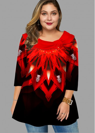 Printed Gradient Plus Size T Shirt - 1X