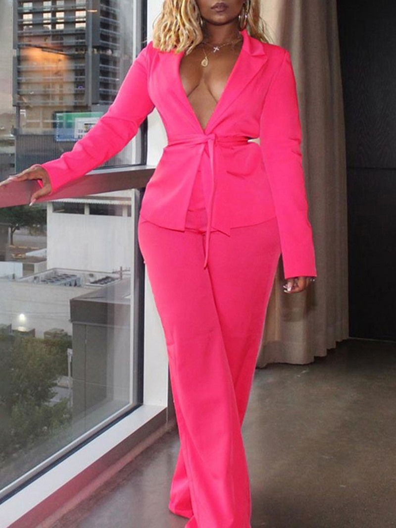 Ericdress Two-Piece Blazer Suit Blazer Fashion Lace-Up Full Length Long Sleeve Suit