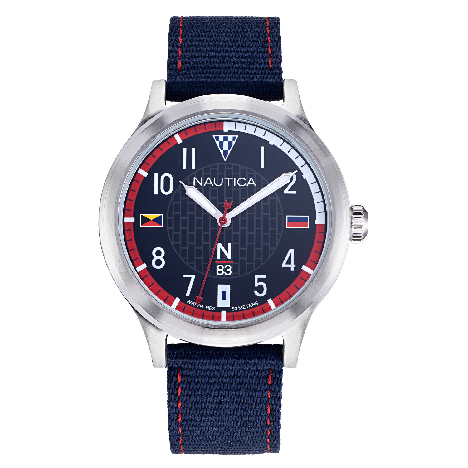 Nautica Watch NAPCFS910 Crissy Field, Analog, Water Resistant, Nylon Fabric Strap, Adjustable Buckle, Snap Down Crown, Blue
