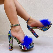 Faux Fur Decor Snakeskin Chunky Heeled Sandals