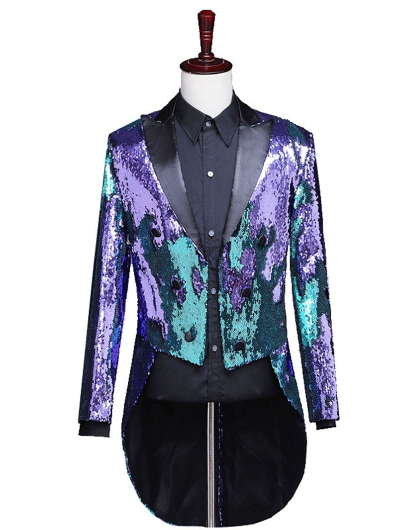 Ericdress Color Block Button Stage Costumes Men's Blazers