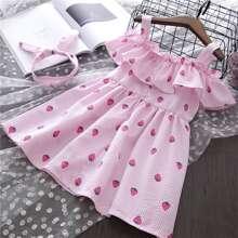 Toddler Girls Strawberry Print Ruffle Trim Cami Dress & Headband