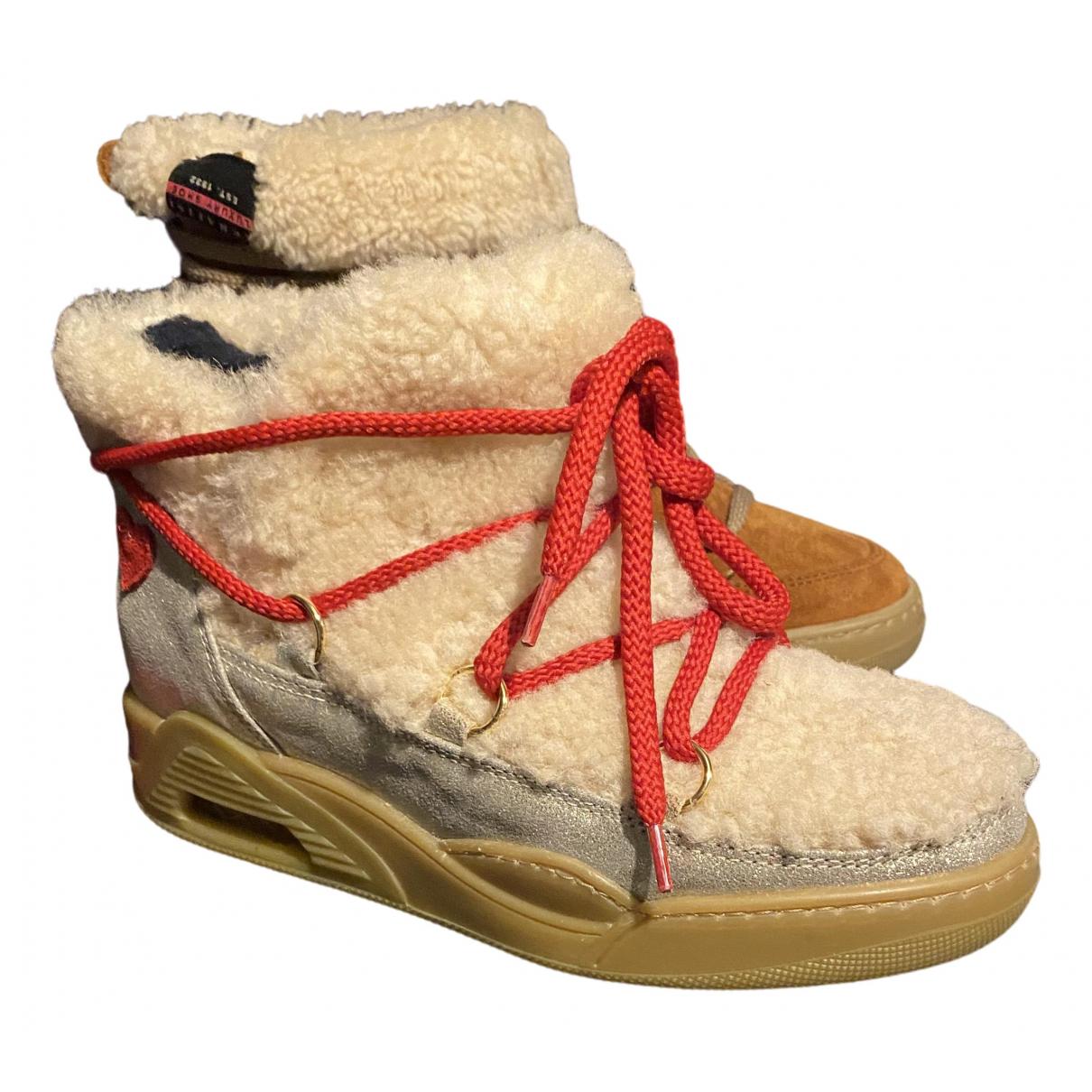 Serafini - Boots   pour femme en suede - ecru