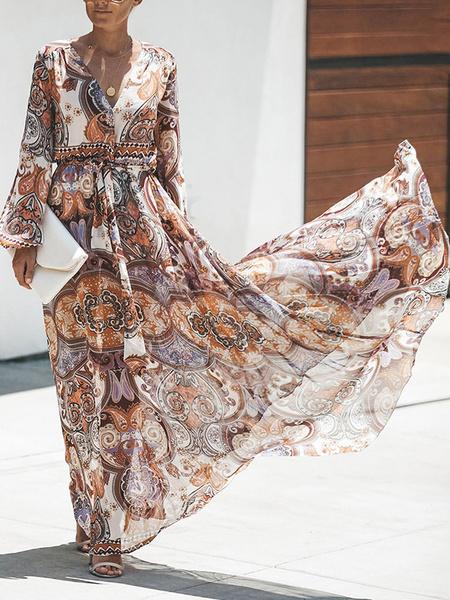 Milanoo Maxi Dress Long Sleeves Printed V Neck Maxi Chiffon Long Dress