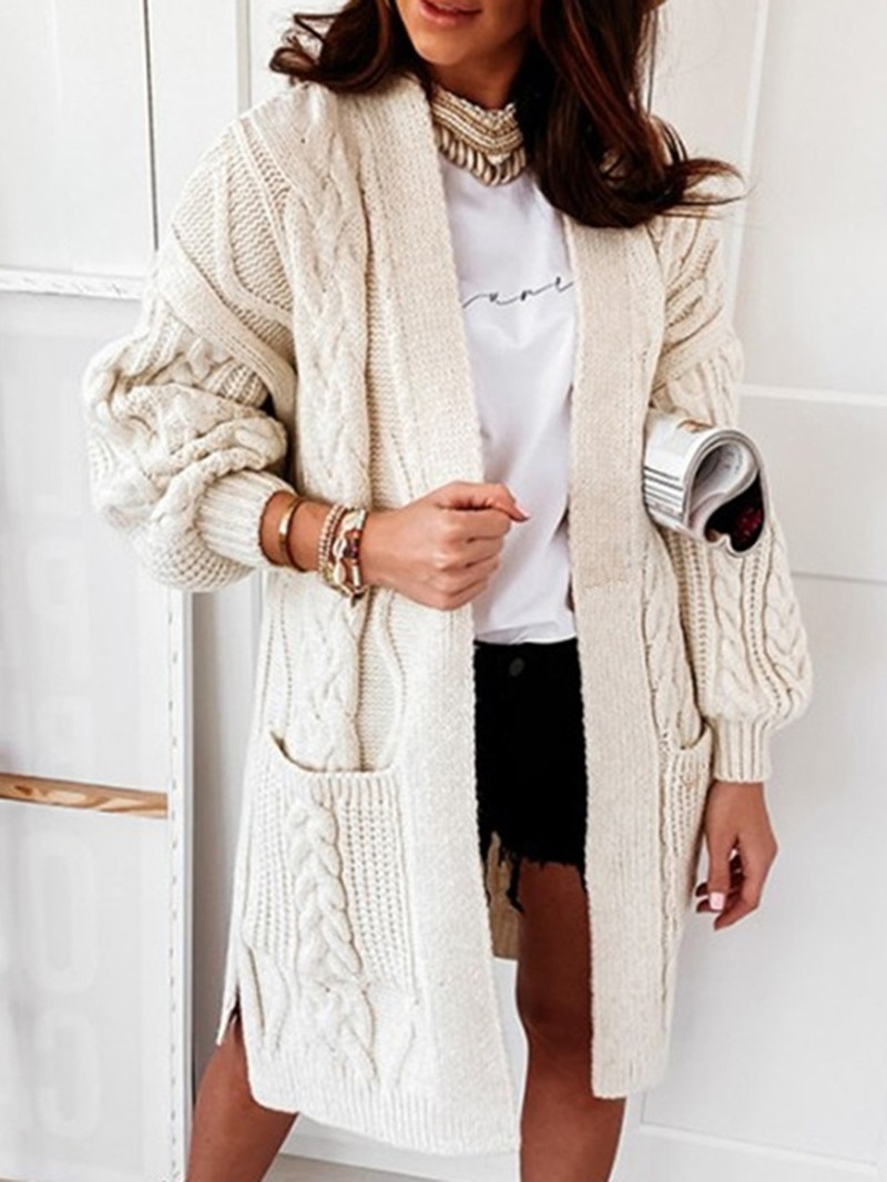 Ericdress Pocket Long Sleeve Winter Sweater