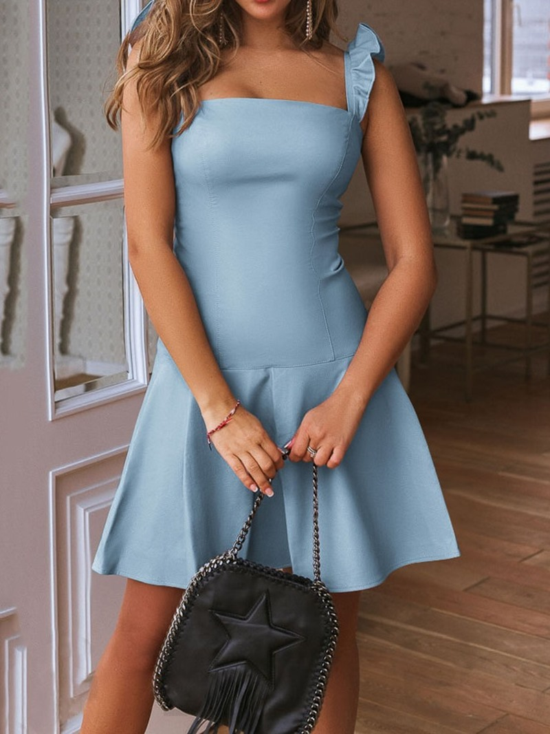 Ericdress A-Line Above Knee Sleeveless Stringy Selvedge Date Night Plain Dress