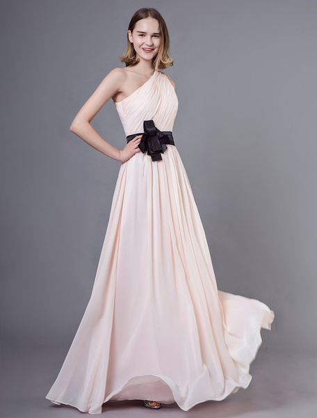 Milanoo Bridesmaid Dresses Long Chiffon One Shoulder Nude Bows Floor Length Wedding Party Dress