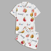Maenner Hemd mit Karikatur, Buchstaben Grafik & Shorts mit Kordelzug um die Taille