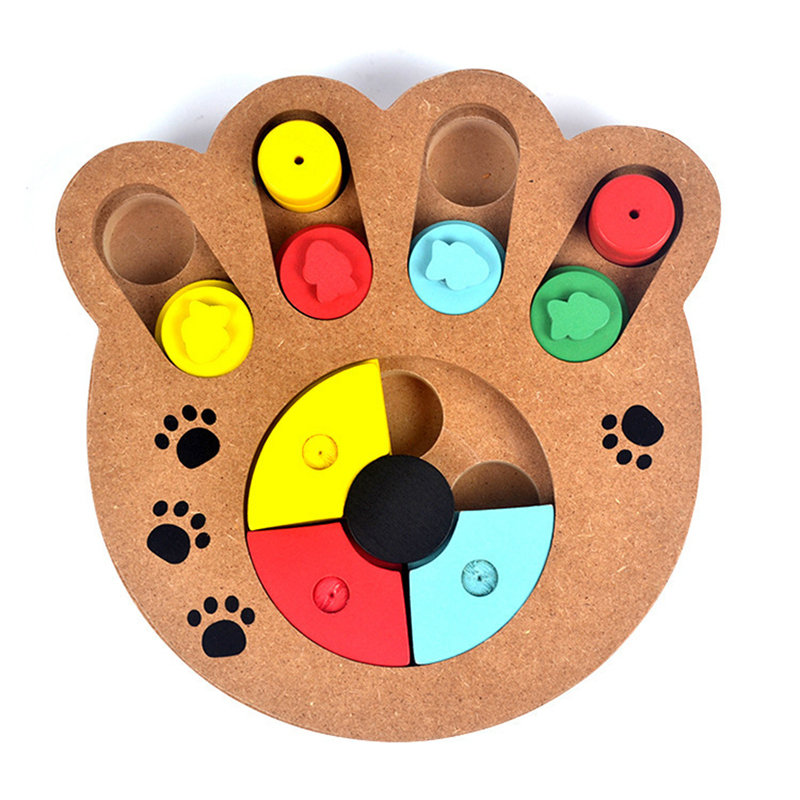 Wooden Paw Bone Shape Pet Dog Cat Feeding Toy Board Funny Training Board