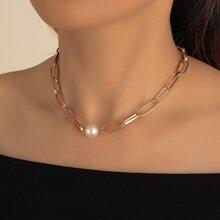 Collar con cadena con perla artificial