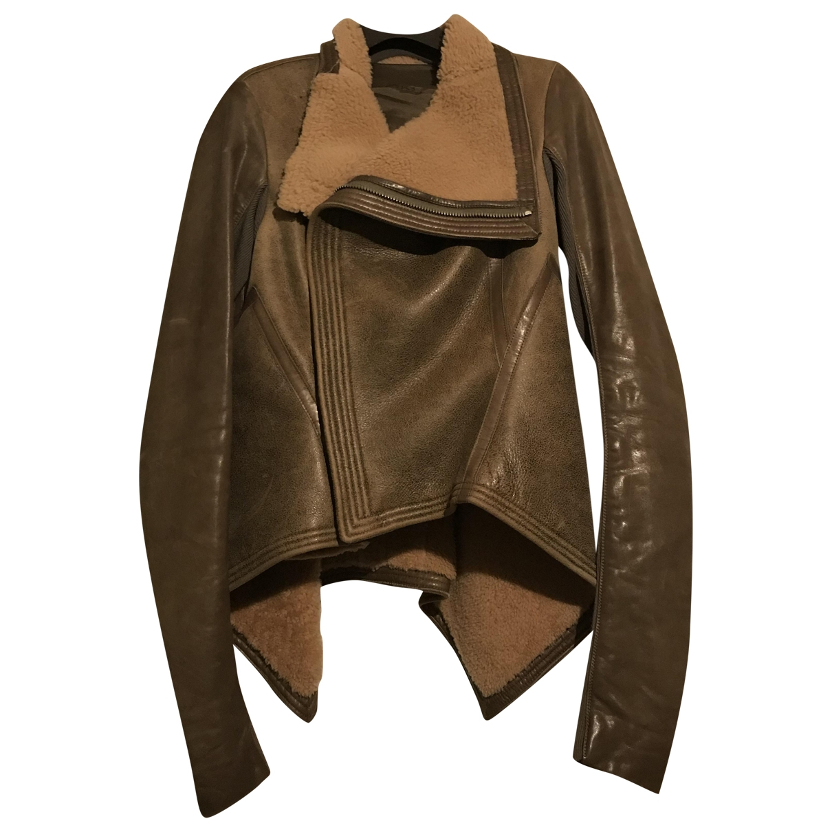 Rick Owens \N Brown Wool Leather jacket for Women 40 IT
