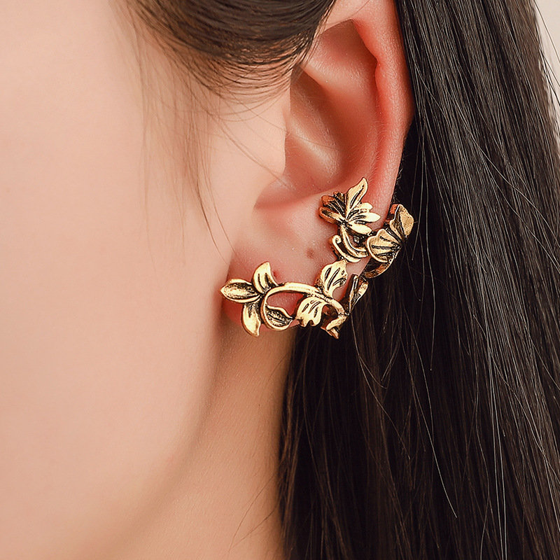 Retro Hallow Left Earring Clap Flower Leaves Single Earrings Bronze Gold Ear Clap