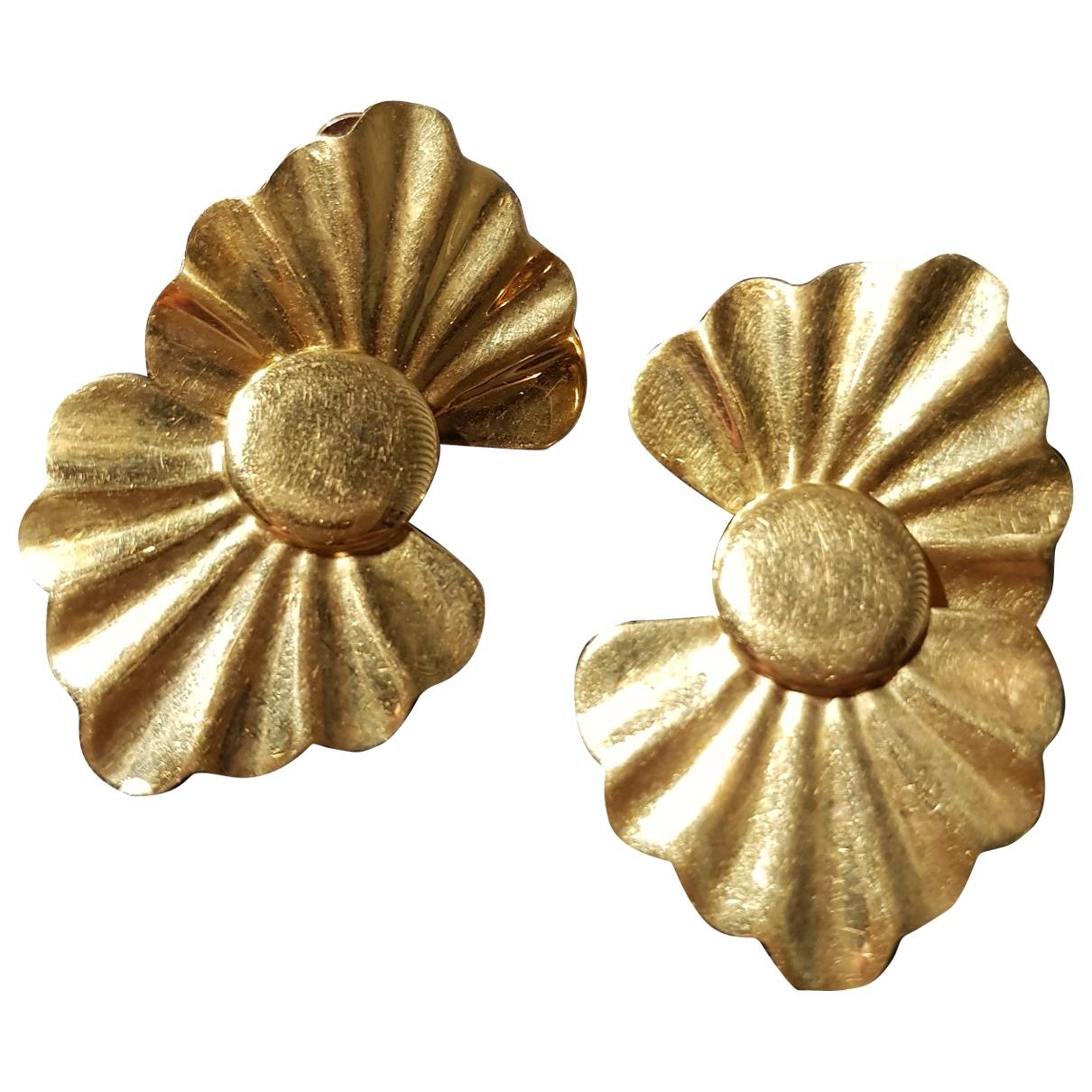 - Boucles doreilles Motifs Floraux pour femme en or jaune - dore