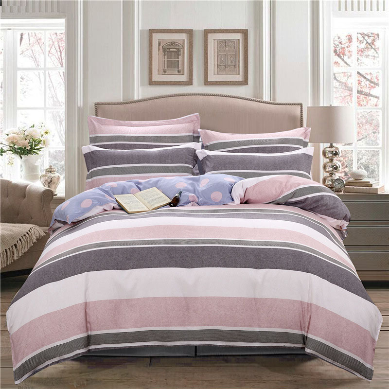 Classic Pink Stripe 4Piece Polyester Bedding Sets Soft Durable Zipper Bedding Sets Household Necessary Set