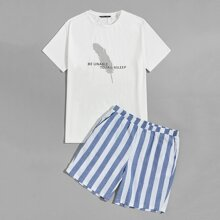 Men Slogan and Feather Tee and Two Tone Striped Shorts PJ Set