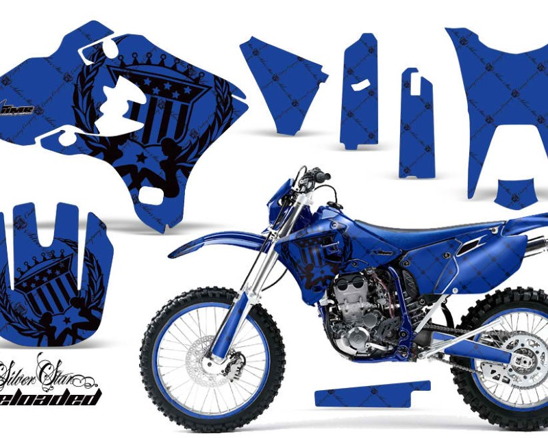 AMR Racing Graphics MX-NP-YAM-WR250F-WR450F-03-04-SSR K U Kit Decal Sticker Wrap + # Plates For Yamaha WR250F WR450F 2003-2004 RELOADED BLACK BLUE