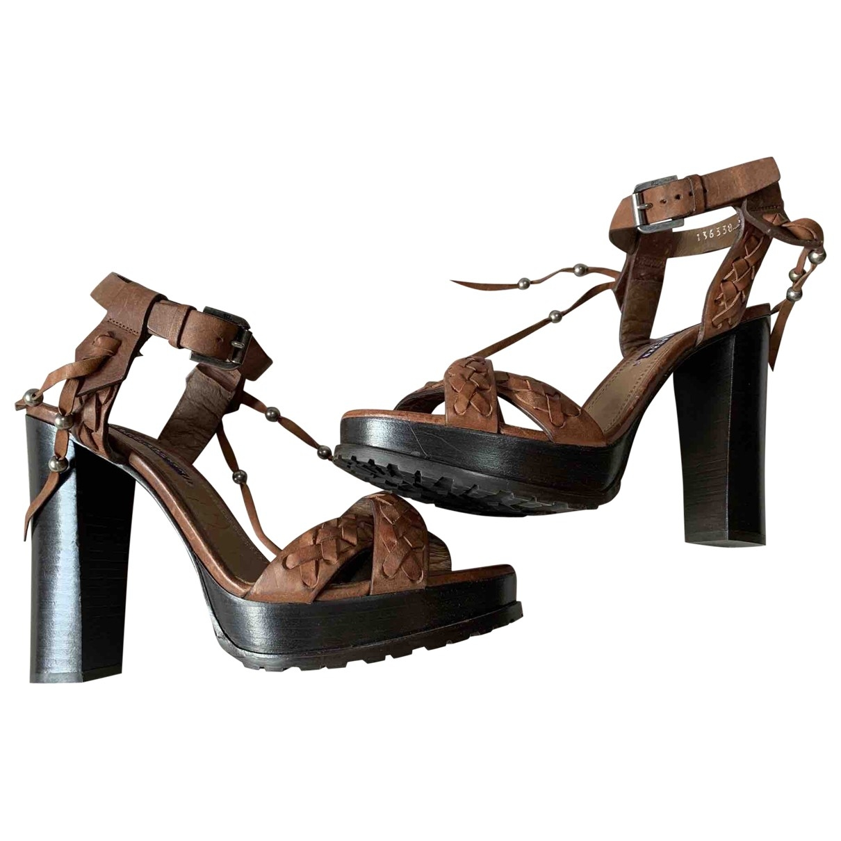 Ralph Lauren - Sandales   pour femme en cuir - marron
