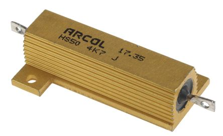 Arcol HS50 Series Aluminium Housed Axial Wire Wound Panel Mount Resistor, 4.7kΩ ±5% 50W (20)