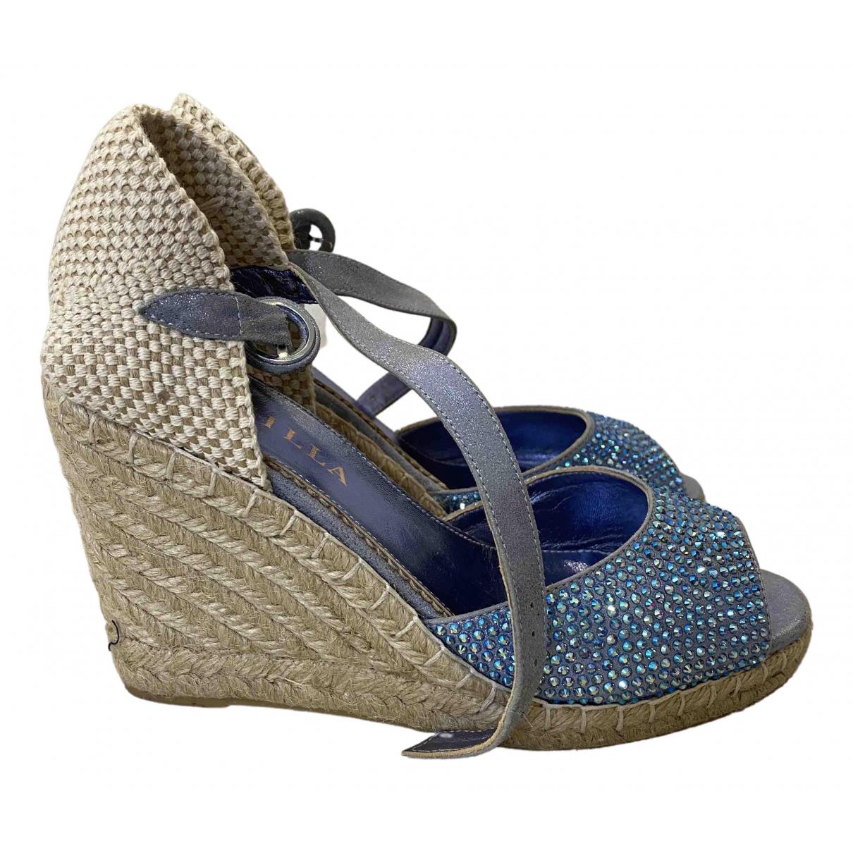 Le Silla \N Ballerinas in  Blau Leinen