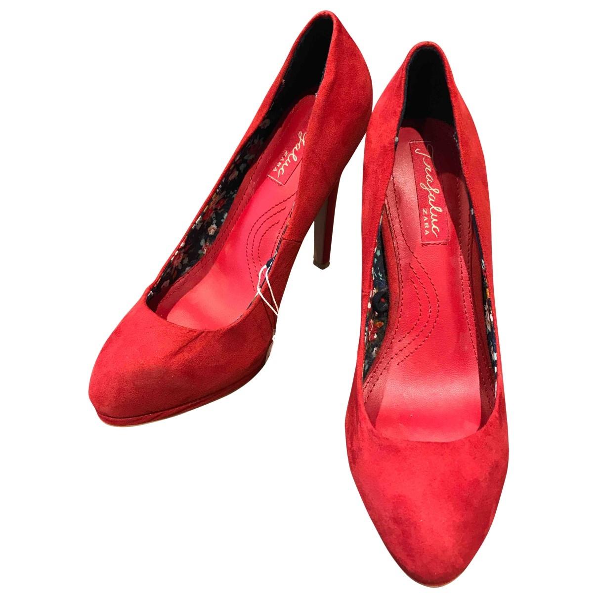 Zara \N Red Suede Heels for Women 37 EU