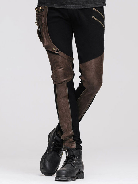 Milanoo Gothic Pants Men Hip Holster Steampunk Bottoms Halloween