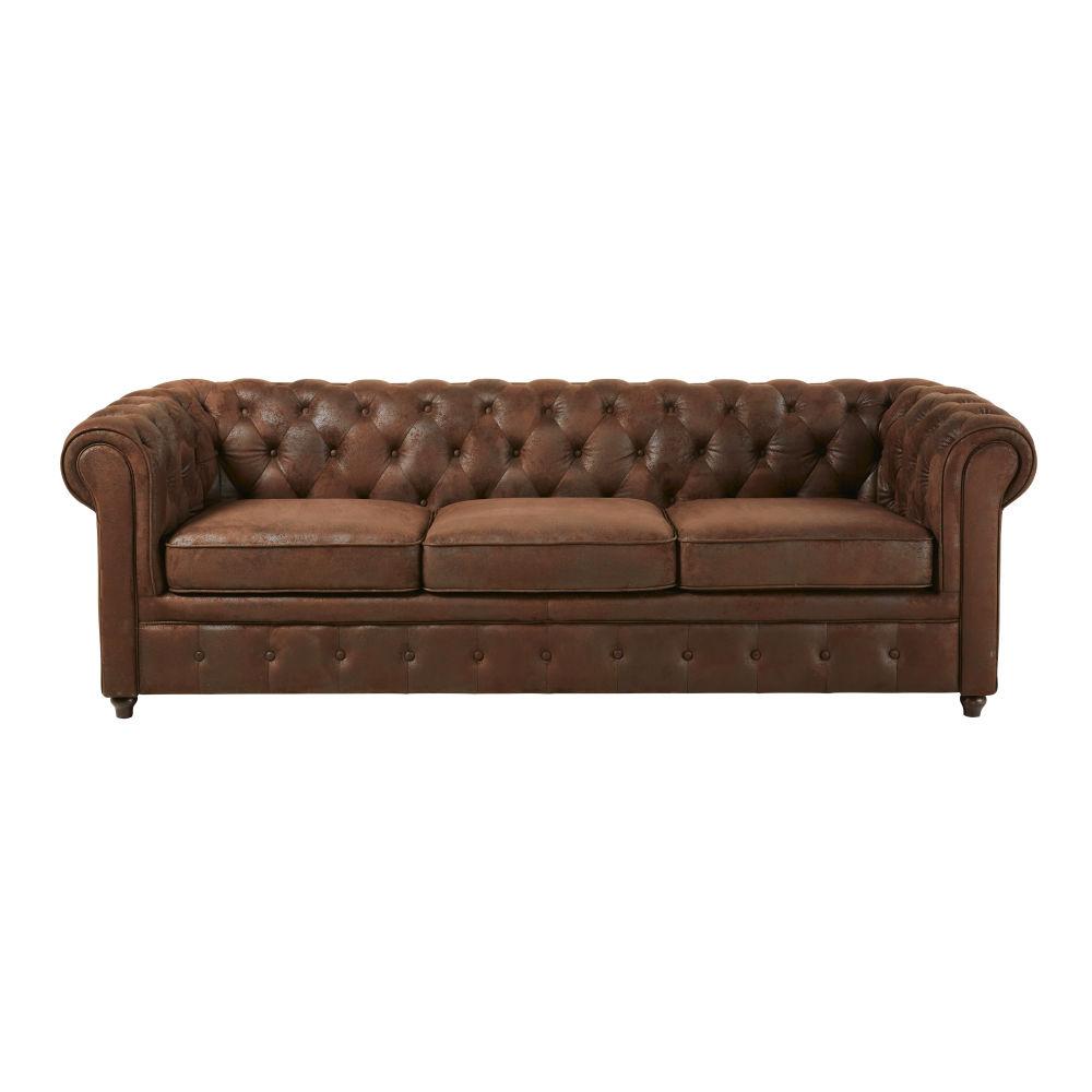 Gepolstertes 3-Sitzer-Schlafsofa mit Bezug aus Wildlederimitat, braun Chesterfield