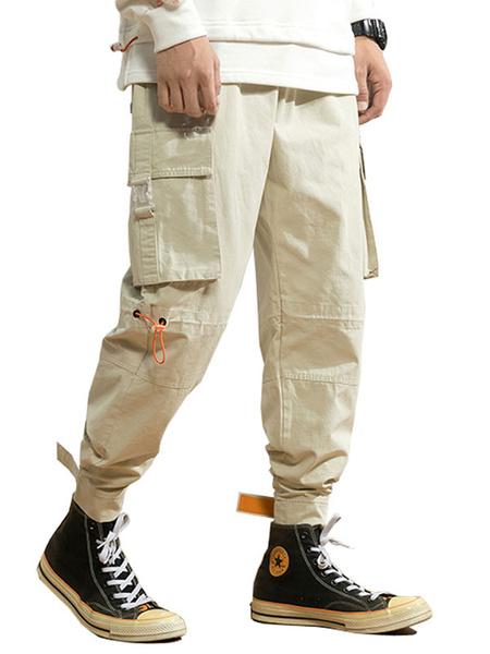 Milanoo Pants For Men Chic Natural Waist Straight Cargo Pant Khaki Men\s Pants