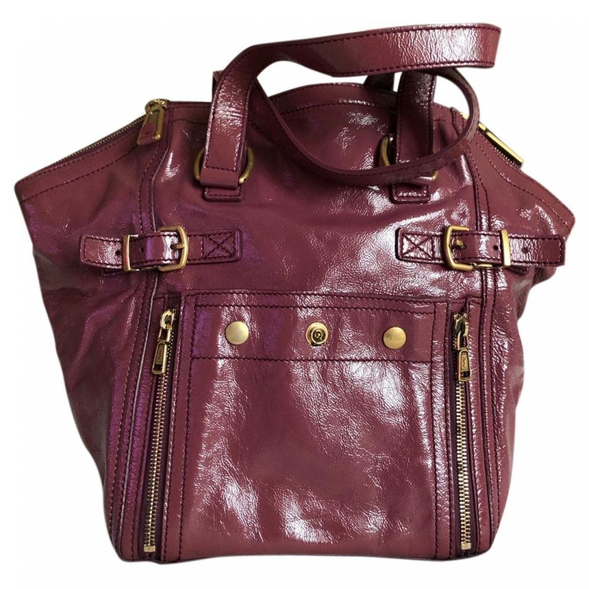 Yves Saint Laurent Downtown Purple Patent leather handbag for Women \N