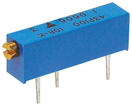 Vishay 43P Series 20-Turn Through Hole Trimmer Resistor with Pin Terminations, 500kΩ ±10% 1/2W ±100ppm/°C
