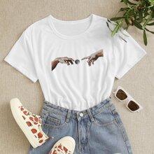 T-Shirt mit Hand & Mond Muster