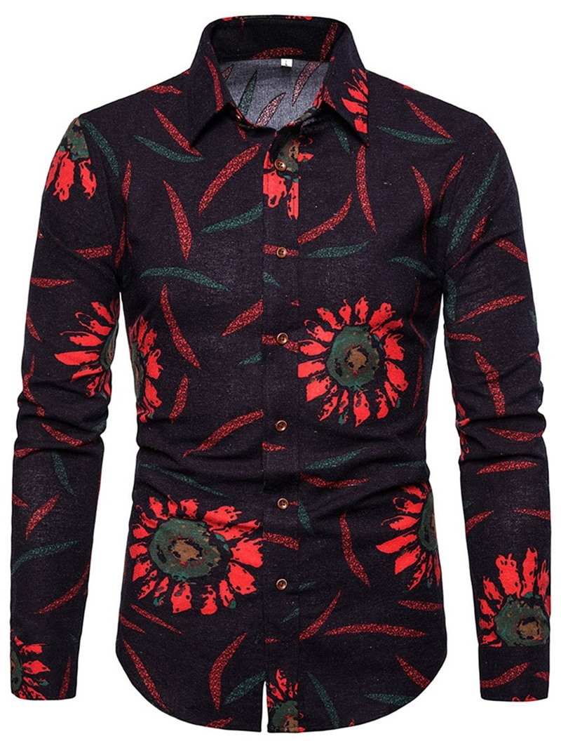 Ericdress Print Lapel Floral Single-Breasted Slim Shirt