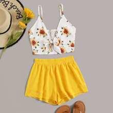 Camisole mit Sonneblume Muster und Shorts
