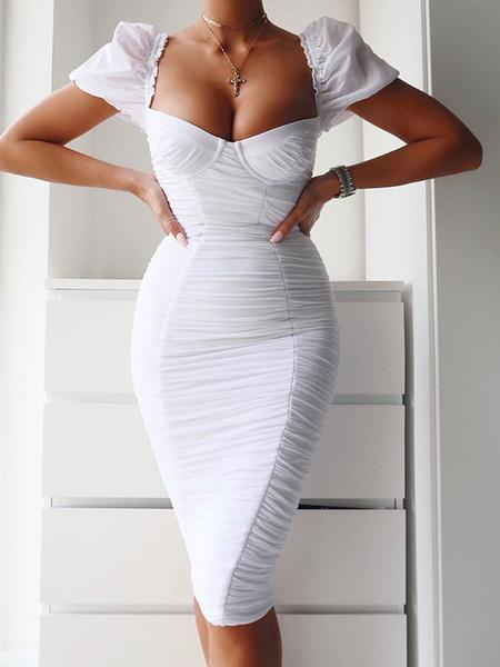 Milanoo Bodycon Dresses White Short Sleeves Pleated Sexy Square Neck Body-conscious Dress Sheath Dress