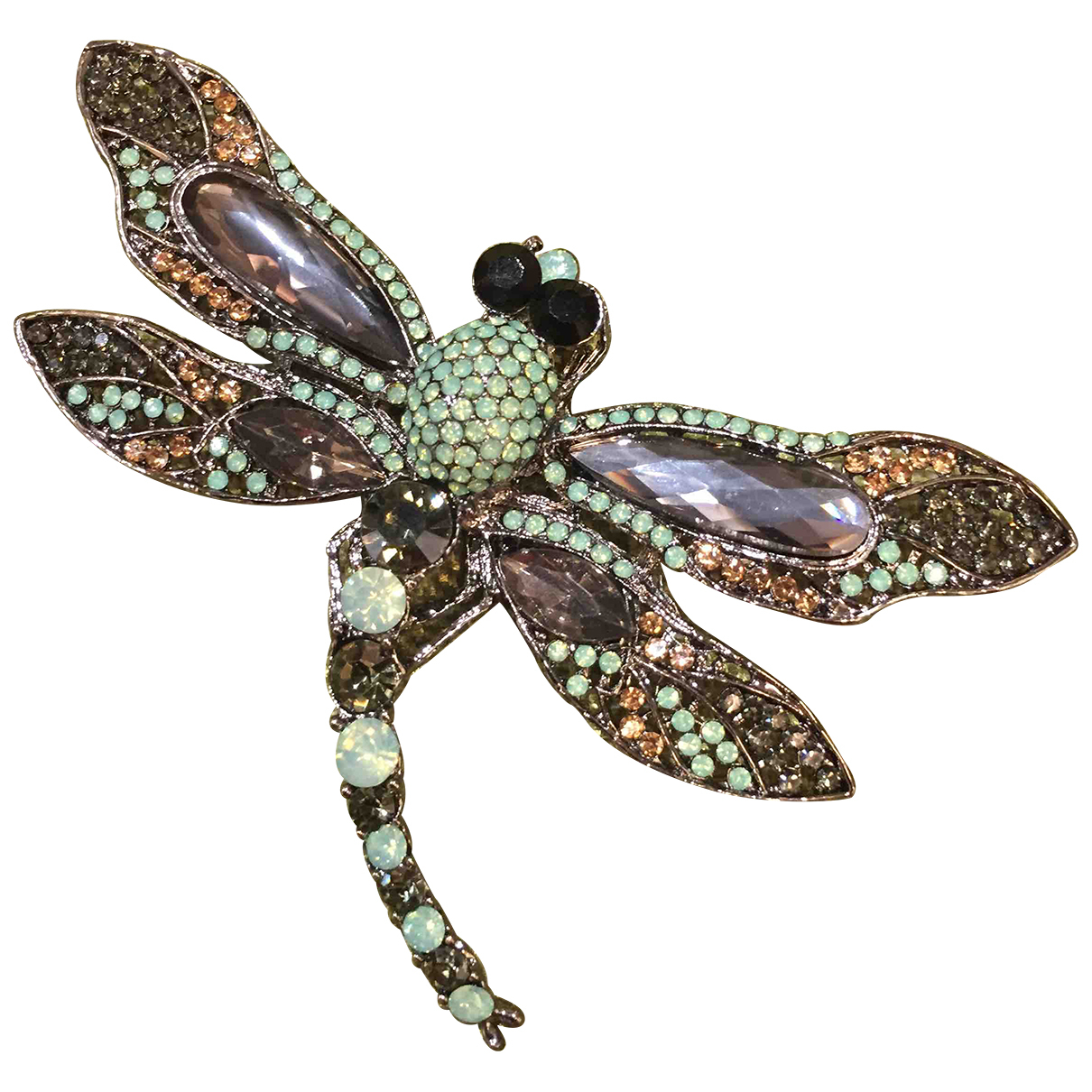 Non Signé / Unsigned Motifs Animaliers Green Metal Pins & brooches for Women \N
