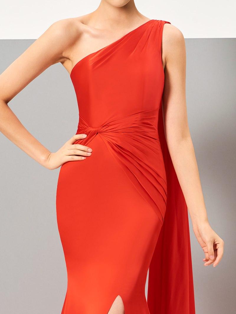 Ericdress Fancy One Shoulder Slit Front Floor Length Evening Dress