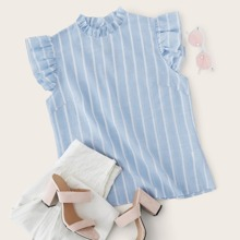 Frilled Neck Ruffle Armhole Striped Top