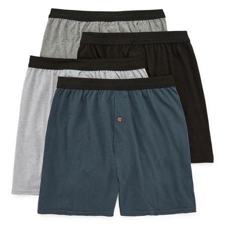 Hanes Men's FreshIQ ComfortFlex Waistband Knit Boxer 4-Pack, Large , Multiple Colors