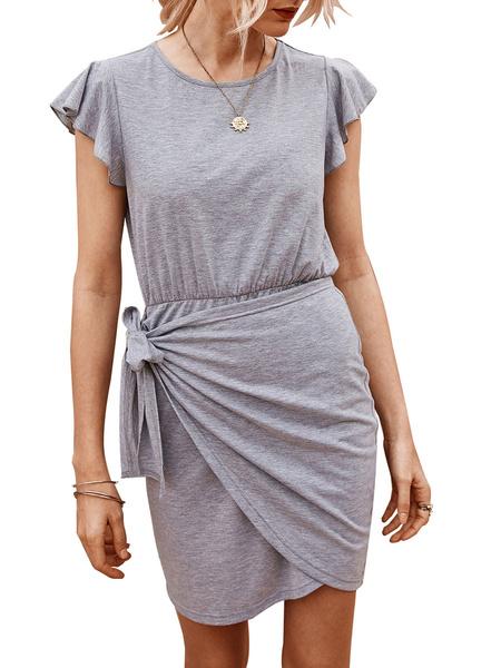 Milanoo White Bodycon Dresses Women Jewel Neck Short Sleeve Knotted Short Dress