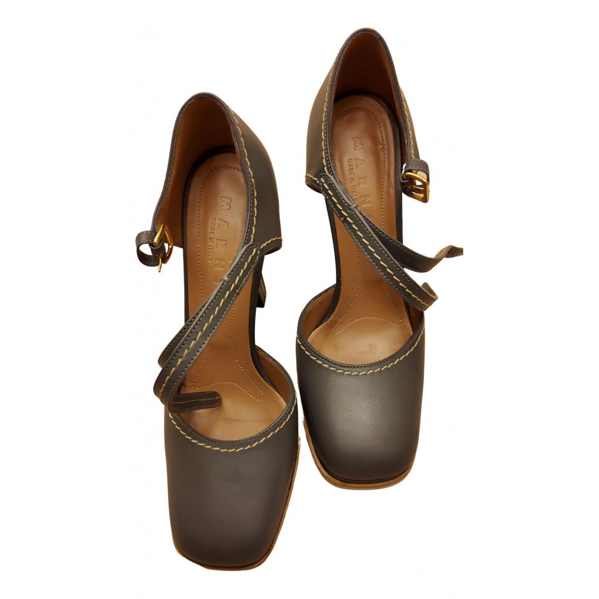 Marni N Grey Leather Heels for Women 39 EU