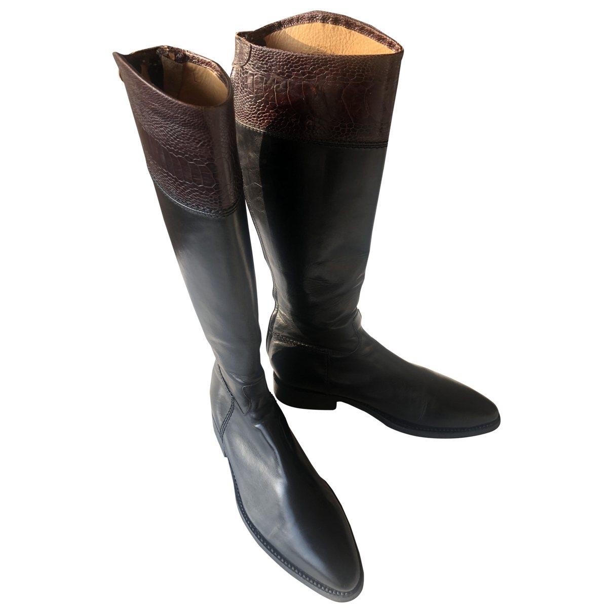 Alberto Fasciani \N Black Leather Boots for Women 37.5 EU