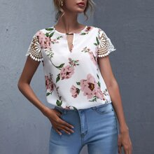 Keyhole Neck Guipure Lace Sleeve Floral Top