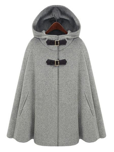 Milanoo Poncho de mujer con capucha gris poliester capa prendas de vestir exteriores
